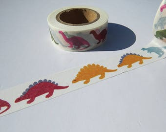 Dinosaurs Washi Tape / Colourful Washi Tape Featuring A Range Of Dinosaurs