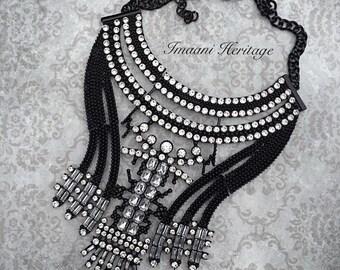Safar Statement Necklace, Bib statement necklace, metal necklace, layered necklace, chunky statement necklace, Crystal necklace