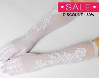 "Long gloves, White wedding gloves, bridal gloves, elbow gloves, long gloves 15"" Wedding Accessories, Bridal Accessories 24"