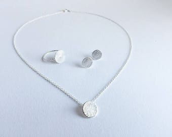 Circle necklace / ear plug / ring in SILVER