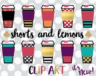 Coffee cup clip art, Coffee clipart - coffee mug clipart - digital Planner printable - Planner clipart - Graphic design - Commercial use