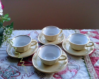 Set of Four French Cream and Gold Espresso Cups and Saucers