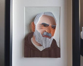 """Padre Pio"" quilling art Panel"