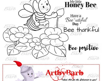 Honey Collector, cute line art, bee digital stamp, cute digi, clip art, art print, wordart, to colour, to craft, greeting card, crafty make,