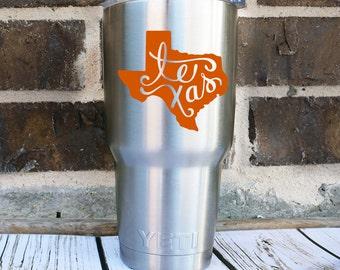 Texas Decal - Texas Yeti Decal -Texas Home Car Decal - Texas Tumbler Decal - Texas Coffee Cup - Fancy Texas Vinyl Decal - State Car Decal