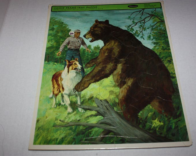 Vintage Whitman 1966 LASSIE TV Show Fights Bear Frame Tray Puzzle Sealed RARE
