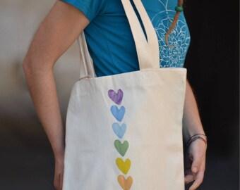 Organic cotton shopper regenerated/hearts/chakras