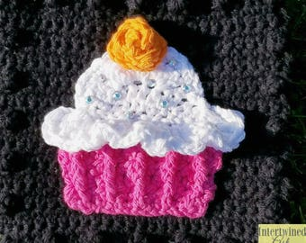 Crochet Cupcake Applique Granny Square PATTERN: Like a BOSS Blanket Series pdf instant digital download