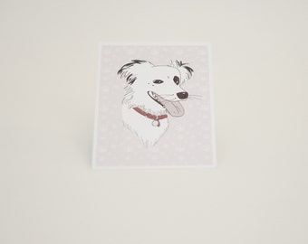 Postcard Border collie dog, Maggie illustration
