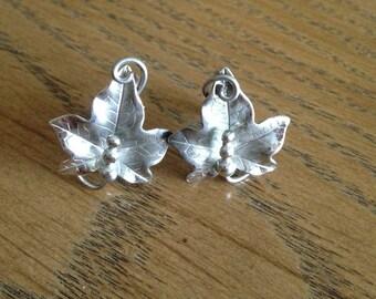 Sterling Silver Grape Leaf Screwback Earrings