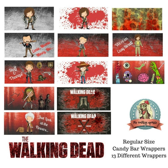 The Walking Dead Candy Bar Wrappers Regular Size Hershey