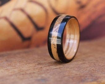 Whiskey Barrel Wood Ring - Wooden Wedding Ring Bentwood ring Mens Wooden RIngs Woman's ring Wood Engagement Ring Reclaimed Wood Anniversary