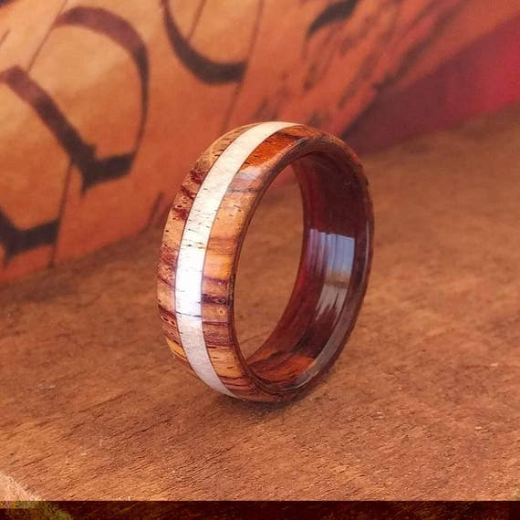 Cocobolo Antler Wood Ring - Mens Wooden Ring  Wooden Wedding Band  Engagement Ring  Anniversary Gifts for Men  Wood Jewelry
