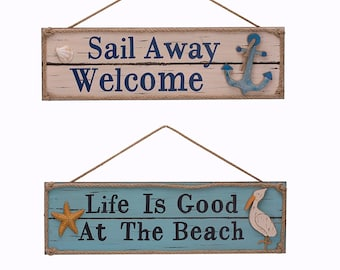 ESE Wooden Beach Plaque Sign Wall Decor nautical wood sign, Set of 2, 20""