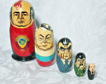 Russian Matryoshka Nesting Dolls - Russian and Soviet Political Figures