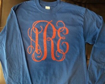 Long Sleeve Glitter Monogram Full Front T-Shirt