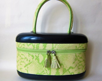 Kapok Walter STEIGER green python leather bag Apple Vintage Glam Rock Pin UP