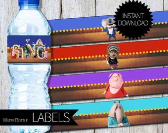 SING Birthday Party Printable Water Bottle LABELS- Instant Download | Sing Movie|