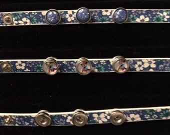 "Trendy New Flower Print Leather Kids Interchangeable Snap Bracelets 12mm Snaps - Fits Wrists 5-1/4"" - 6"""