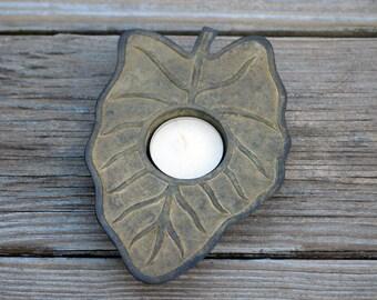 Vintage Silver Metal Leaf Candle Holder