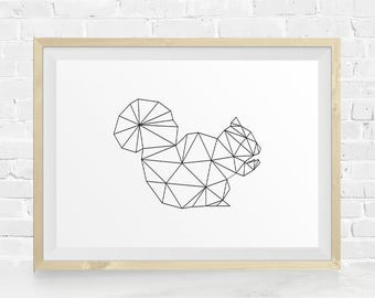 Squirrel Printable, Geometric Squirrel, Geometric Animal, Geometric Wall Art, Forest Animal, Nursery Art, Black and White, Instant Download