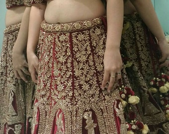 Bridal Lehenga Choli with All Jardos/kasab handwork/made to order per request