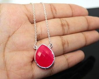 Pink Onyx Necklace, 925 Sterling Silver, Gemstone Necklace, Pink Necklace