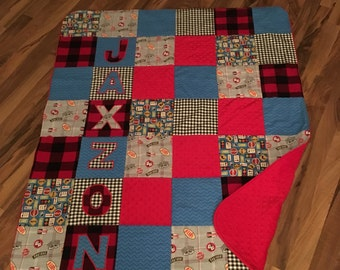 Baby Quilt Handmade Personalized | Minky Baby Blanket | Baby Gift