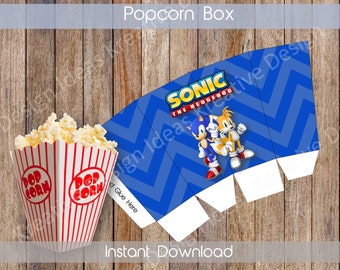 Sonic Small Popcorn Box Printable Sonic Popcorn Box Sonic Birthday Sonic INSTANT DOWNLOAD