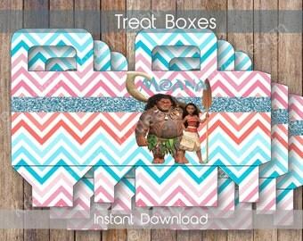 Moana Treat Boxes Moana Party Printables Theme Birthday Party Moana Digital Treat Box Moana Printablel Treat Box- INSTANT DOWNLOAD