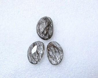 Pair (3 pcs) Natural BLACK Rutile, Uneven Rose Cut, Size (18x12 mm - 1 pcs Or 16x11 mm -2 pcs) Irregular Rose cut,AAA Quality gemstone
