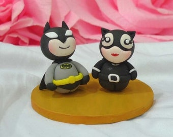 Wedding cake topper Batman and Cat woman clay doll, engagement clay miniature, surprise proposal clay figurine, anniversary,clay ring holder