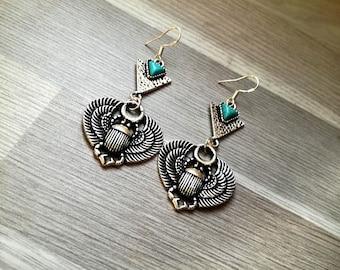 "Earrings dangling ethnic silver hooks 925th ""beetles"", turquoise, blue, howlite, swarovski, Egypt, Bohemian crystal"