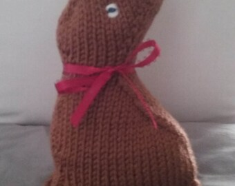 Hand knit chocolate easter bunny