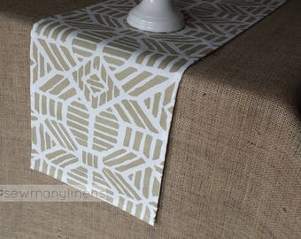 Gold Table Runner Geometric Modern Golden Table Centerpiece Dining Room Decor Linens Aztec Moroccan Decor