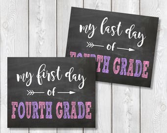 "First Day And Last Day Of Fourth Grade Chalkboard Sign 8"" x 10"" DIGITAL DOWNLOAD School Print Set"