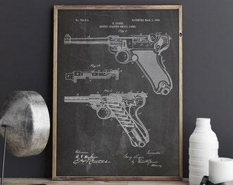 Luger Pistol, Gun Blueprint, Parabellum Blueprint, Luger Print,Pistol Blueprint,Gun Wall Decor,Gun Poster,Pistol Parabellum,INSTANT DOWNLOAD