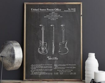 Jazzmaster Guitar, Guitar Patent, Electric Guitar Art, Fender Poster, Fender Jazzmaster, Jazzmaster Patent, Fender Decor, INSTANT DOWNLOAD