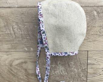 Baby bonnet/reversible bonnet/chambray bonnet /brimless baby bonnet/baby sun hat/osnaburg cotton baby bonnet