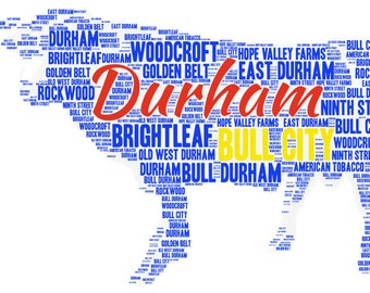 Customizable Durham, NC Bull City Neighborhood Word Print - pick your font, color, shapes, and size
