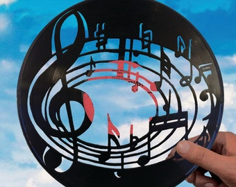 Music gifts for him made of vinyl record Music notes Music wall art Music decor music room decor music teacher gift music home decor Party