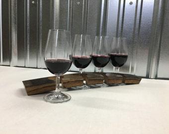 Wine Flight Set made of Oak Barrel Stave