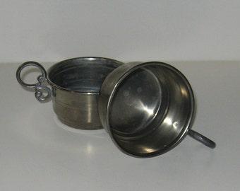 Quaint Vintage 92% Zinn Pewter Cups with Handles