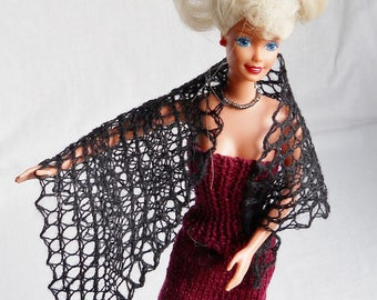 black hand knit lacy shawl for 11 1/2 inch fashion doll