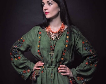 Ukrainian embroidered long (maxi) dress -green linen with ancient embroidery - boho chic ethnic folkloric style - modern folk