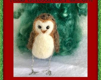 Needle Felted Owl, Felted Owl, Needle Felted Christmas, Felted Ornament, Felt Ornaments, Owl Ornament