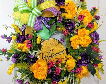 Pineapple Wreath - Summer Floral Wreath -Pineapple Summer wreath - Pineapple and flowers wreath - Front Door Decor - Housewarming Gift