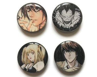 Death note magnets or Death note pins, L magnet, L pin, Light, Kira, Misa, Ryuk, anime magnets, anime pins, manga magnets, manga pins