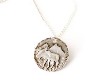 Moose Sterling Silver Medallion Necklace