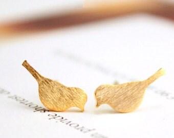 Golden bird | Golden birds | Bird earstuds